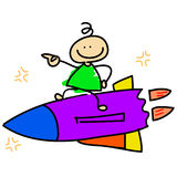 Cartoon dreamboy riding rocket Stock Image