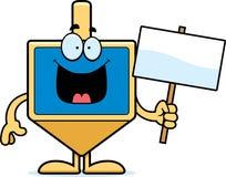 Cartoon Dreidel Sign. A cartoon illustration of a dreidel holding a sign Stock Photography
