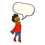 Cartoon drenched man flying with speech bubble Stock Images