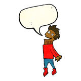 Cartoon drenched man flying with speech bubble Royalty Free Stock Photography
