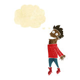 Cartoon drenched man flying with thought bubble Royalty Free Stock Images