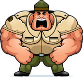 Cartoon Drill Sergeant Yelling Stock Photography