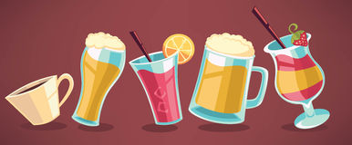 Cartoon drinks. Collection for your menu vector illustration