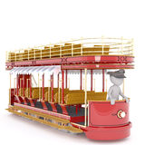 Cartoon Driver in Old Fashioned Tour Trolley Royalty Free Stock Photo