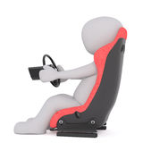 Cartoon Driver in Plush Seat with Steering Wheel. Generic Gray 3d Cartoon Figure Sitting in Plush Red Driver Seat and Steering with Wheel in front of White Royalty Free Stock Photography