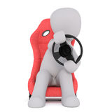 Cartoon Driver in Red Seat and Steering with Wheel. Generic Gray 3d Cartoon Figure Sitting in Plush Red Driver Seat and Steering with Wheel in front of White Stock Image