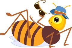 Cartoon drone bee. Isolated on white background stock illustration