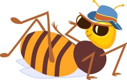 Cartoon drone bee. Isolated on white background royalty free illustration