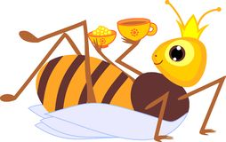Cartoon drone bee. Isolated on white background vector illustration