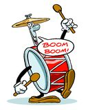 Cartoon drum and cymbal set  Royalty Free Stock Image