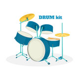Cartoon drum kit in white background. Vector illustration. Royalty Free Stock Photography