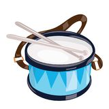 Cartoon drum on a white background. Toy musical instrument for children. Colorful vector illustration for kids. stock illustration