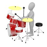 Cartoon drummer. 3d render of cartoon drummer Royalty Free Stock Image