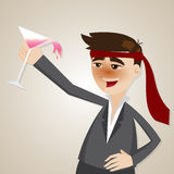 Cartoon drunk businessman with glass of cocktail Stock Image