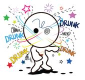 Cartoon drunk cute Royalty Free Stock Photos