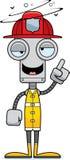 Cartoon Drunk Firefighter Robot Stock Image
