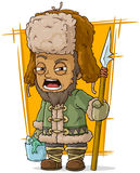 Cartoon drunk fisherman with basket and spear Royalty Free Stock Photo