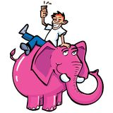 Cartoon drunk man riding a pink elephant Stock Photography