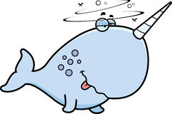 Cartoon Drunk Narwhal Stock Image
