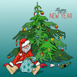 Cartoon Drunk Santa Claus with gifts under the Christmas tree, hand-drawn Royalty Free Stock Images