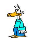 Cartoon duck. A cartoon illustration of a duck standing Stock Image