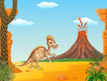 Cartoon Duck billed hadrosaur character in prehistoric background Royalty Free Stock Images