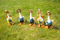 Cartoon duck. On the grass, a group of lovely Cartoon duck Royalty Free Stock Photo