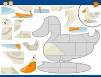 Cartoon duck jigsaw puzzle task Royalty Free Stock Photos