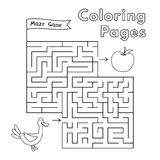 Cartoon Duck Maze Game. Vector coloring book pages for children Royalty Free Stock Photography
