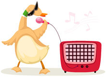 Cartoon duck singer Royalty Free Stock Image