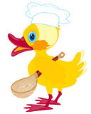 Cartoon duckling with spoon Stock Photo