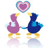 Cartoon ducks on white background vector Stock Photography