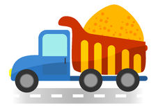 Cartoon dump truck on white background Stock Photos