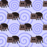 Cartoon dung beetle seamless background design Stock Photography