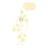 Cartoon dusty old skeleton with speech bubble Stock Images