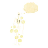 Cartoon dusty old skeleton with thought bubble Royalty Free Stock Photography