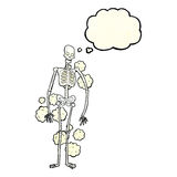Cartoon dusty old skeleton with thought bubble Royalty Free Stock Images