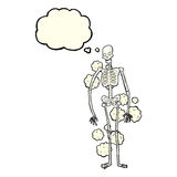Cartoon dusty old skeleton with thought bubble Royalty Free Stock Photos