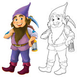 Cartoon dwarf  - with additional coloring page Royalty Free Stock Photos