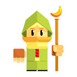 Cartoon dwarf in a green cape with staff in his hands. Fairy tale, fantastic, magical colorful character Royalty Free Stock Images