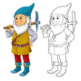 Cartoon dwarf isolated - with additional coloring page Royalty Free Stock Images
