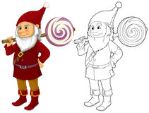 Cartoon dwarf isolated - with additional coloring page Royalty Free Stock Photo