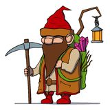 Cartoon dwarf miner. Vector illustration. Stock Photo