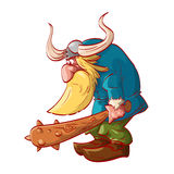 Cartoon dwarf warrior. Colorful vector illustration of a cartoon dwarf warrior, wearing a horned helm, armed with a big club Royalty Free Stock Photos