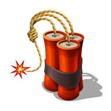 Cartoon dynamite explode with burning wick for games. Royalty Free Stock Image