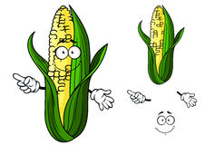 Cartoon ear of corn pointing Stock Images