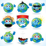 Cartoon Earth. Set of Funny Cartoon Planet Earth with Various Emotions Stock Image
