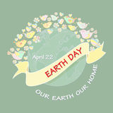 Cartoon Earth Day Illustration. Planet and text Our Earth our home. Cartoon Earth Day Illustration. Planet, bird, heart, flower and text Our Earth our home.  On Royalty Free Stock Photography