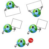 Cartoon Earth Holding Signs Royalty Free Stock Photography