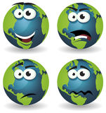 Cartoon Earth Icons Emotions Stock Photos